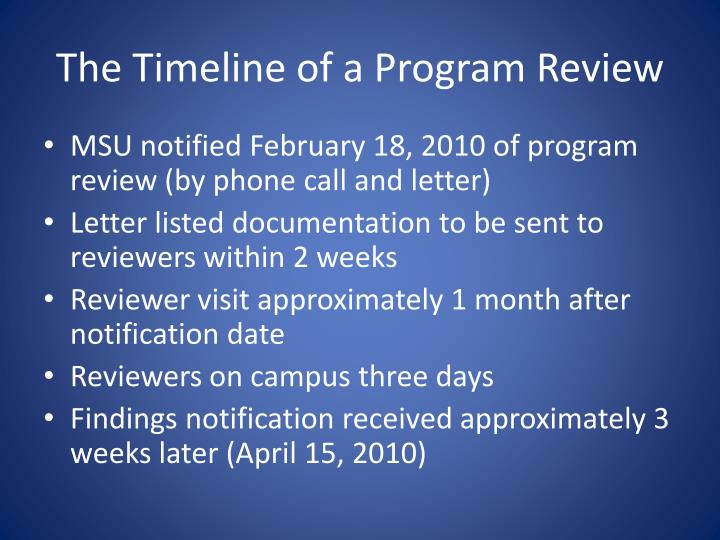 The Timeline of a Program Review