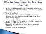 effective assessment for learning involves