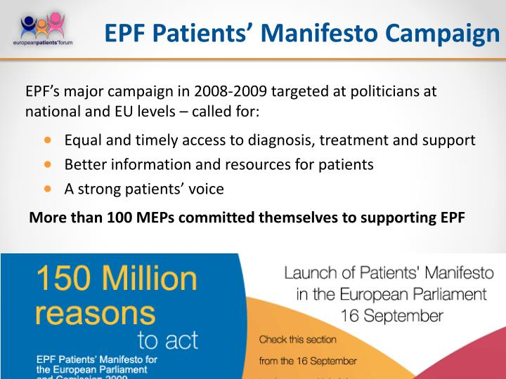 EPF Patients' Manifesto Campaign