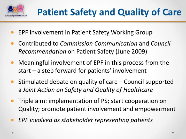 Patient Safety and Quality of Care