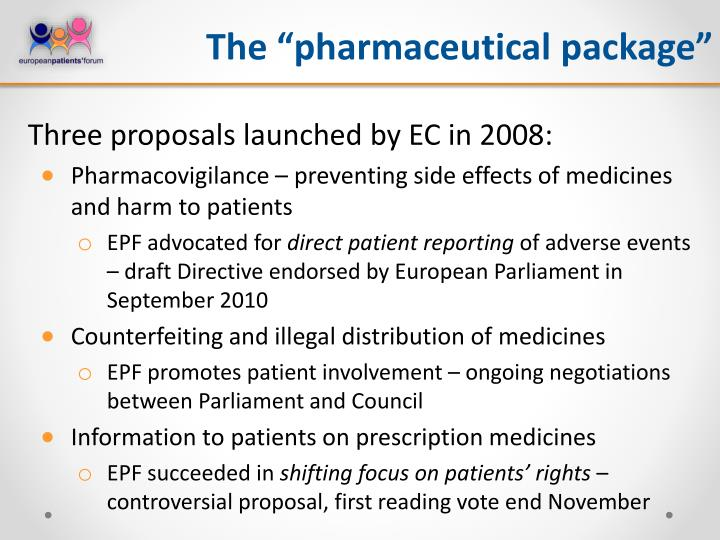 """The """"pharmaceutical package"""""""