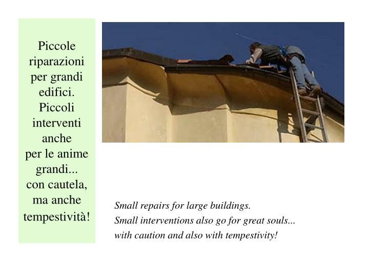 Piccole riparazioni per grandi edifici.