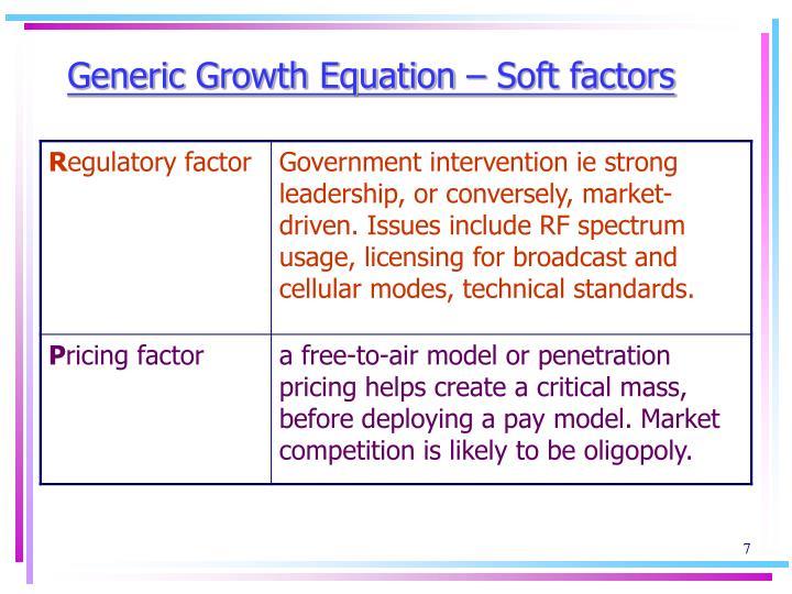 Generic Growth Equation – Soft factors