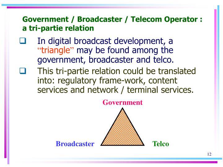 Government / Broadcaster / Telecom Operator : a tri-partie relation