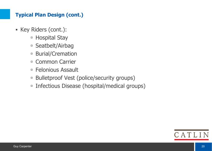Typical Plan Design (cont.)