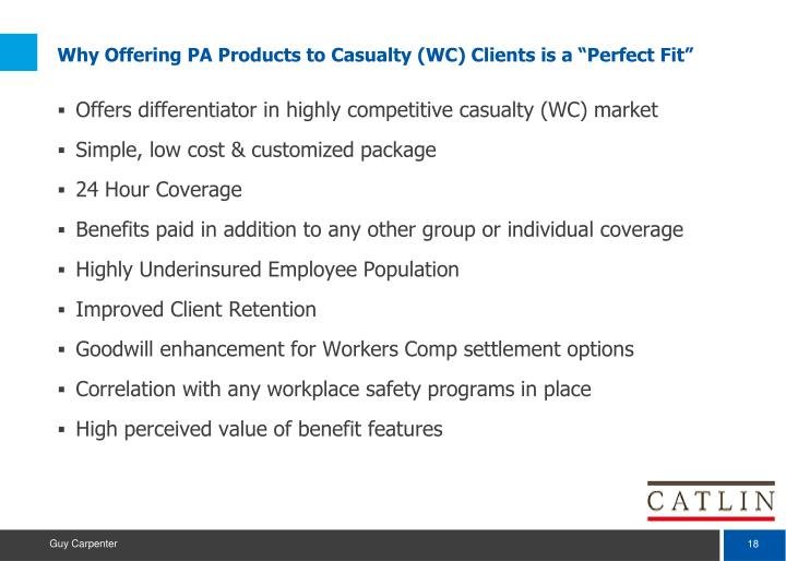 """Why Offering PA Products to Casualty (WC) Clients is a """"Perfect Fit"""""""