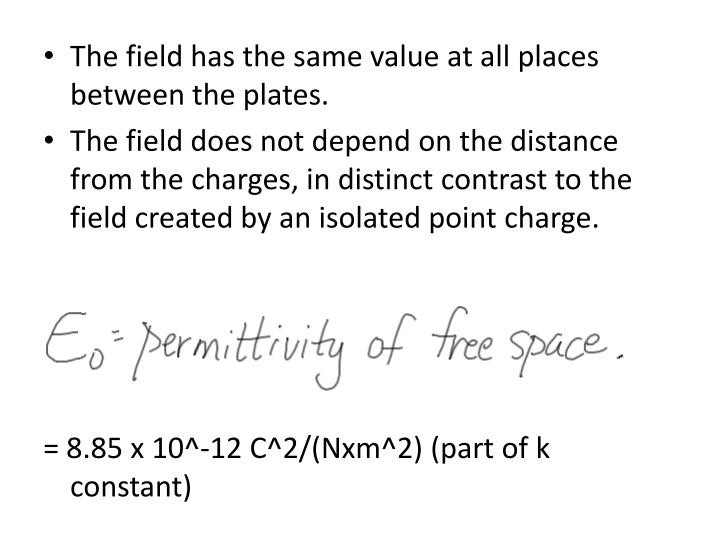The field has the same value at all places between the plates.