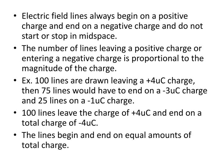 Electric field lines always begin on a positive charge and end on a negative charge and do not start or stop in