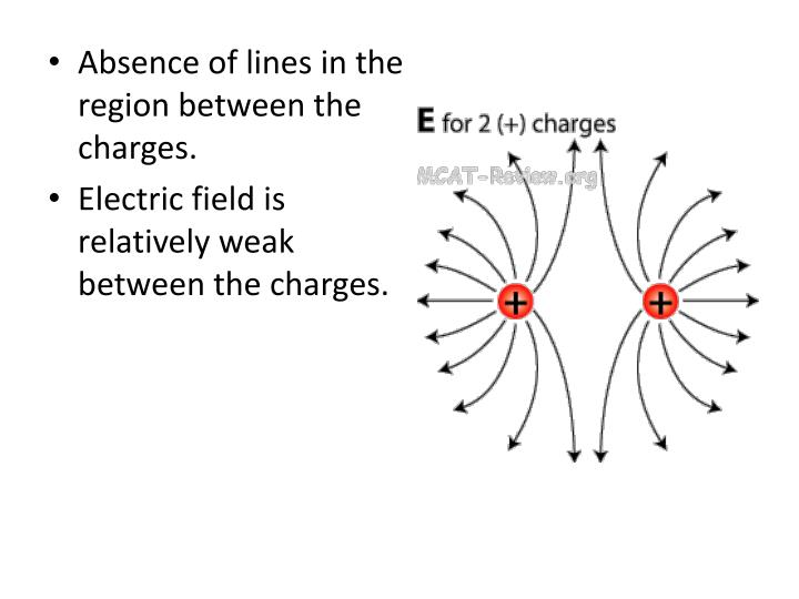 Absence of lines in the region between the charges.