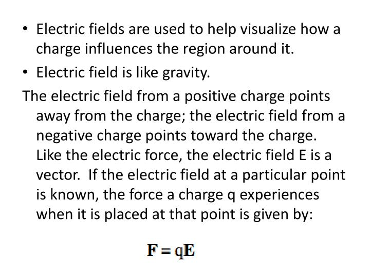 Electric fields are used to help visualize how a charge influences the region around it.