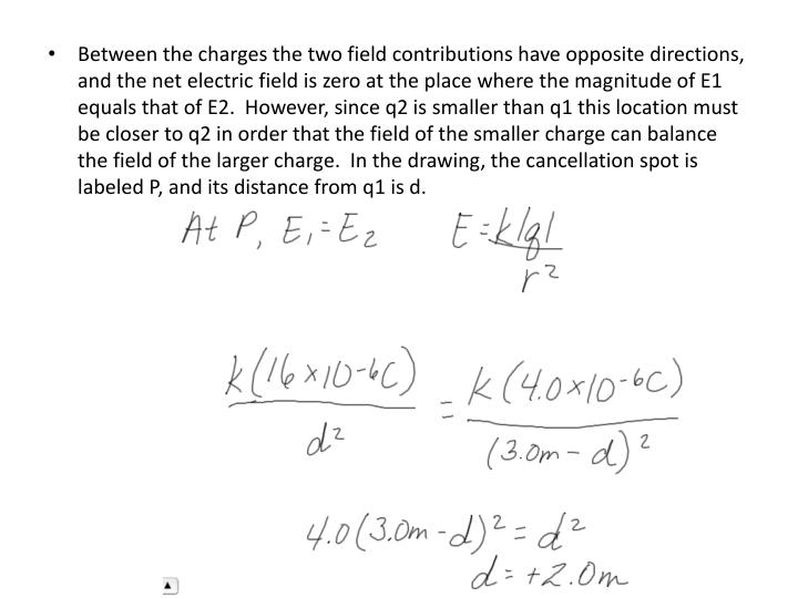 Between the charges the two field contributions have opposite directions, and the net electric field is zero at the place where the magnitude of E1 equals that of E2.  However, since q2 is smaller than q1 this location must be closer to q2 in order that the field of the smaller charge can balance the field of the larger charge.  In the drawing, the cancellation spot is labeled P, and its distance from q1 is