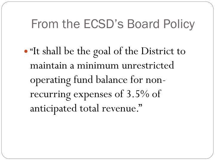 From the ECSD's Board Policy