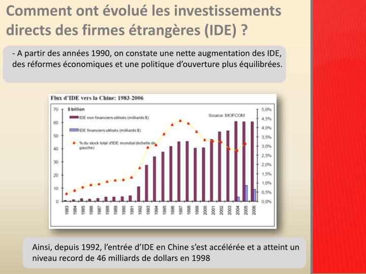 Comment ont évolué les investissements directs des firmes étrangères (IDE)?