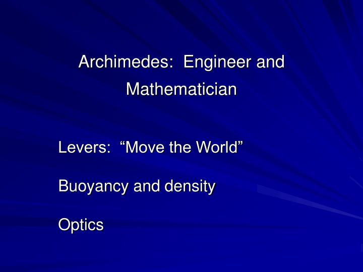 archimedes engineer and mathematician n.