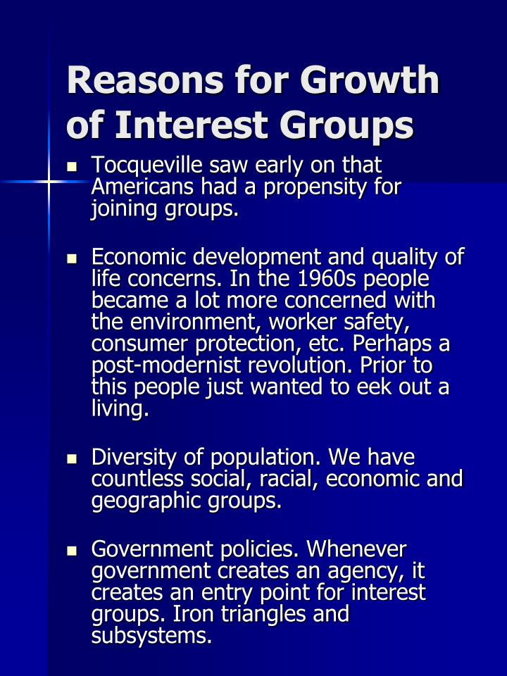 Reasons for Growth of Interest Groups