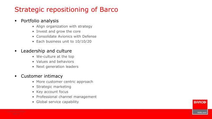 Strategic repositioning of Barco