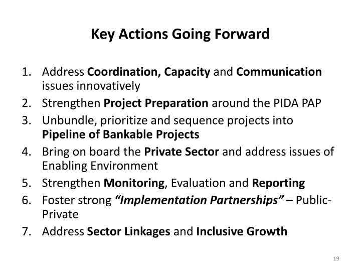 Key Actions Going Forward