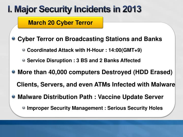 I major security incidents in 2013