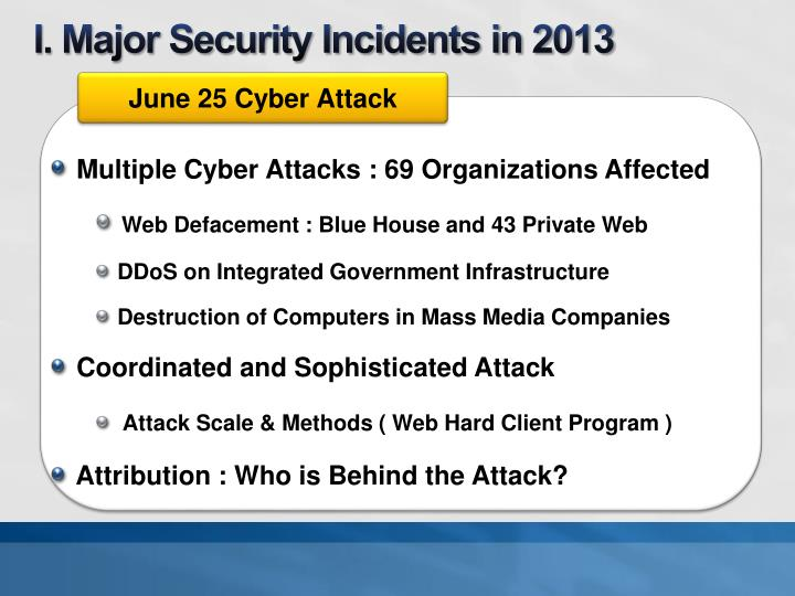 I. Major Security Incidents in 2013