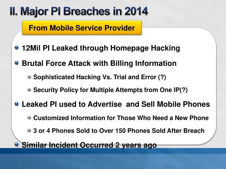 II. Major PI Breaches in 2014