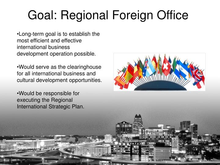 Long-term goal is to establish the most efficient and effective international business development operation possible.