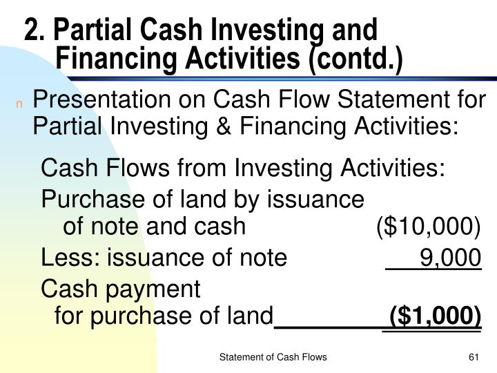 2. Partial Cash Investing and Financing Activities (contd.)