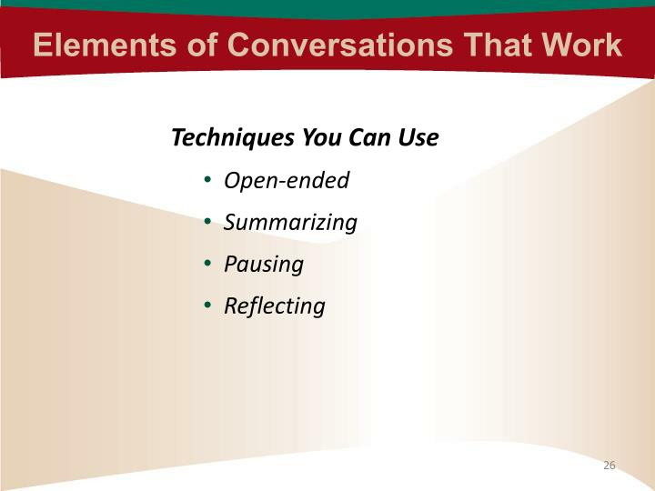 Elements of Conversations That Work