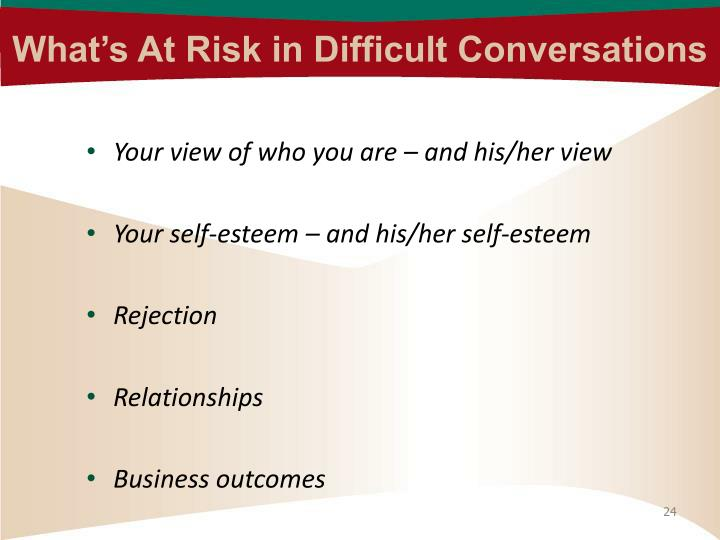 What's At Risk in Difficult Conversations