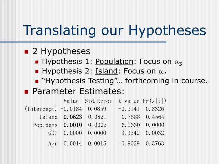 Translating our Hypotheses