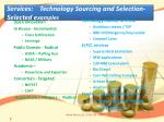 services technology sourcing and selection selected e xamples