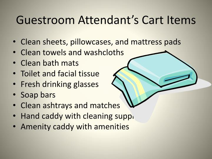Guestroom Attendant's Cart Items