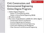 civil construction and environmental engineering online degree programs