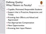 defining quality what matters to faculty