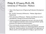 philip r o leary ph d p e university of wisconsin madison