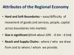 attributes of the regional economy