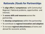 rationale goals for partnerships