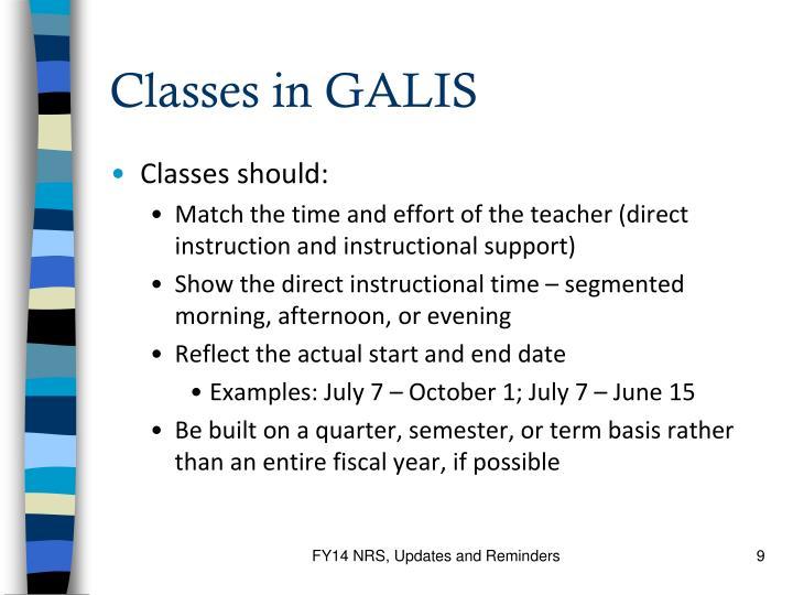 Classes in GALIS