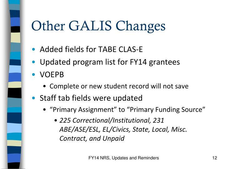 Other GALIS Changes