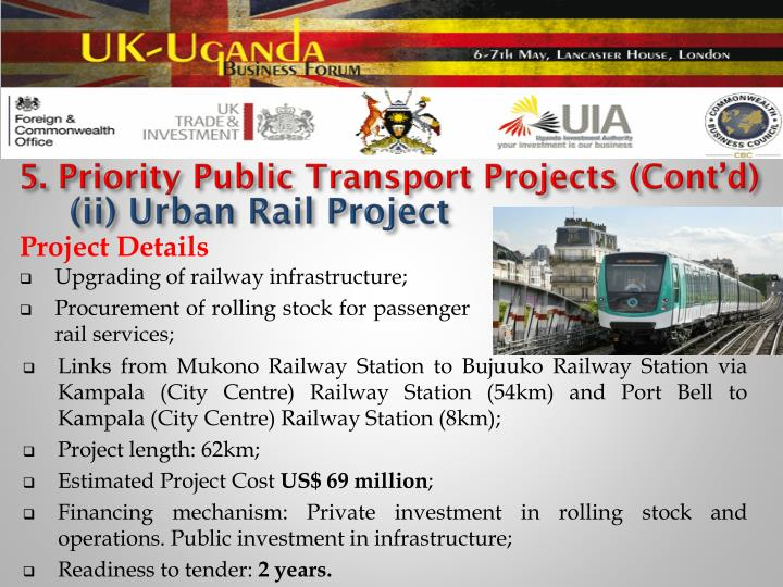 5. Priority Public Transport Projects (Cont'd)