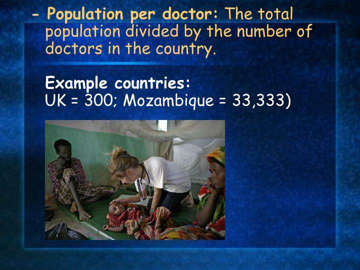 - Population per doctor: