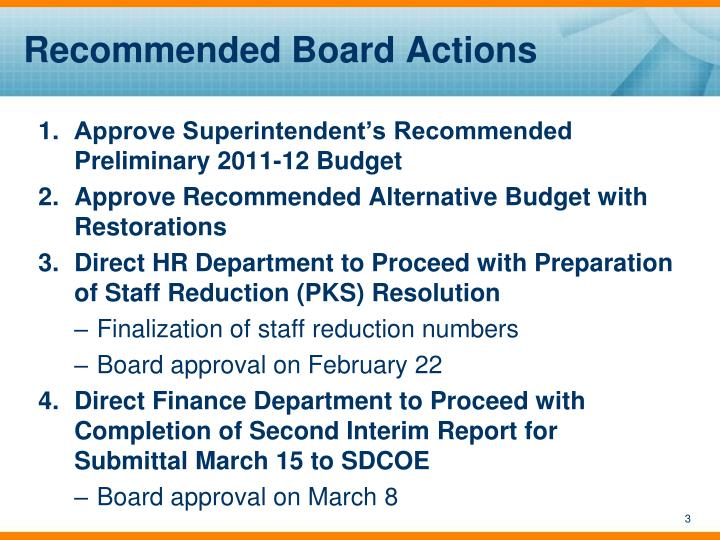 Recommended board actions