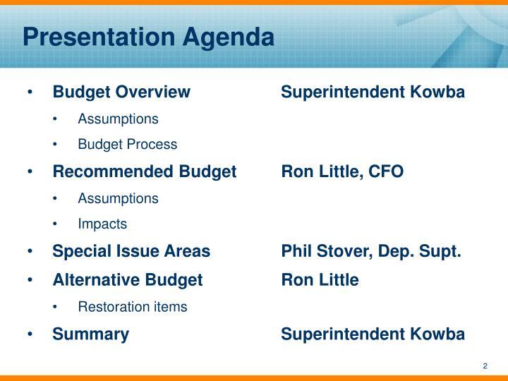 Presentation Agenda