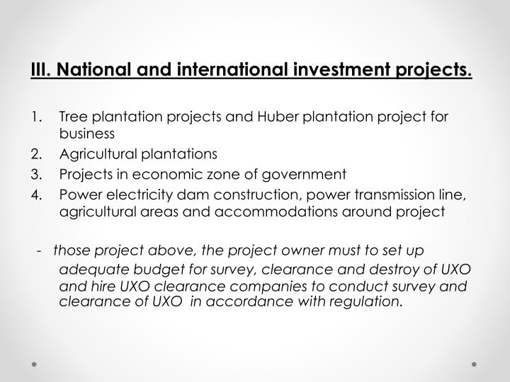 III. National and international investment projects.
