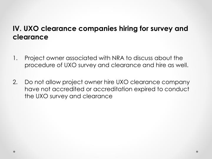 IV. UXO clearance companies hiring for survey and clearance