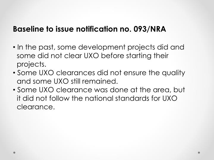 Baseline to issue notification no. 093/NRA