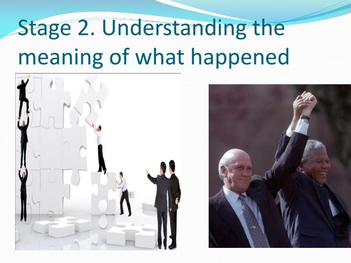 Stage 2. Understanding the meaning of what happened