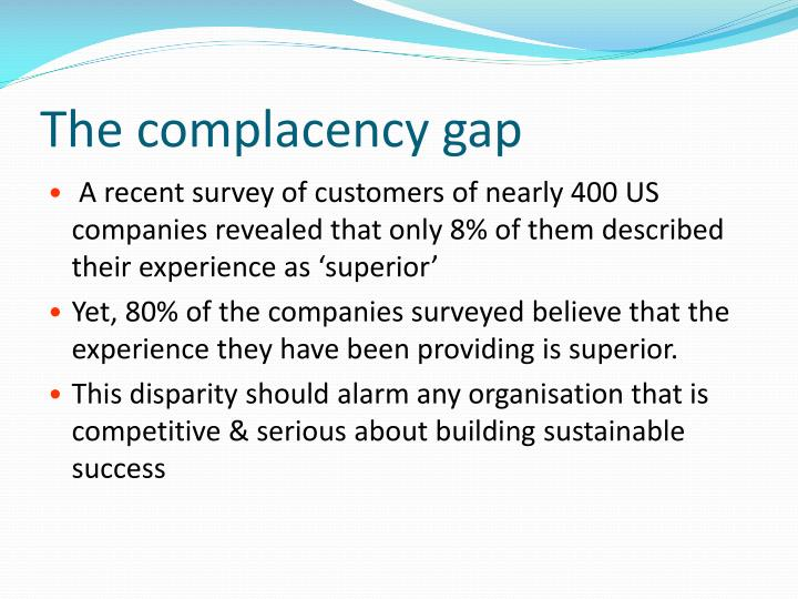 The complacency gap