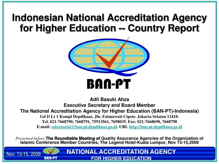 indonesian national accreditation agency for higher education country report n.