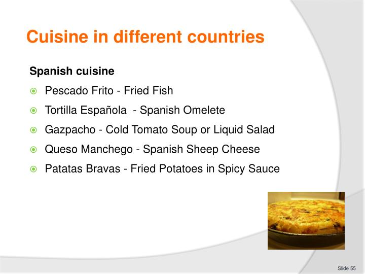 Cuisine in different countries