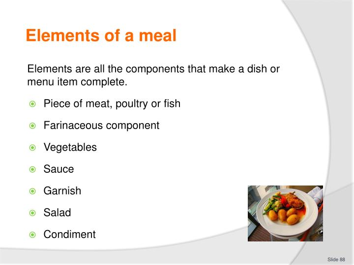 Elements of a meal
